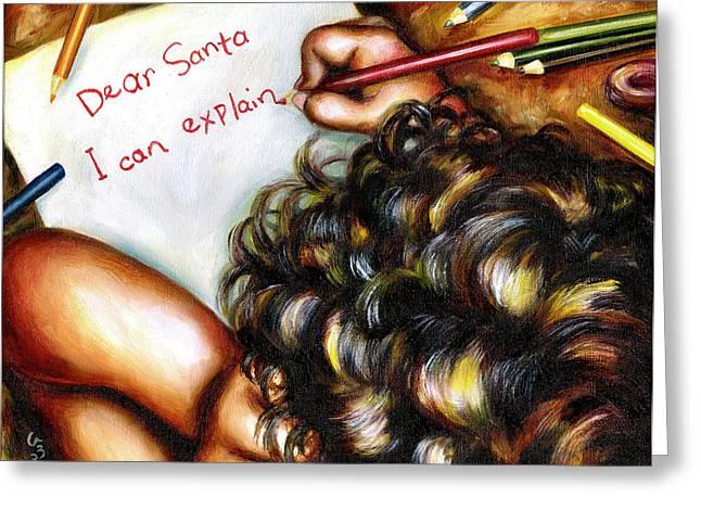 Mischief Greeting Cards - Dear Santa Greeting Card by Hiroko Sakai