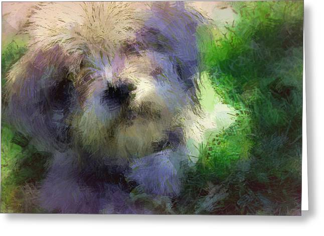 Puppies Paintings Greeting Cards - Dearly Greeting Card by  The Art Of Marilyn Ridoutt-Greene