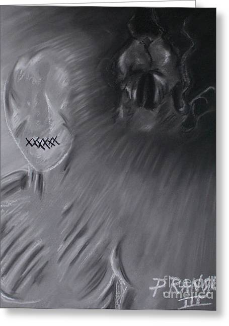 Symbolism Pastels Greeting Cards - Death a Coward Greeting Card by Phillip Rangel