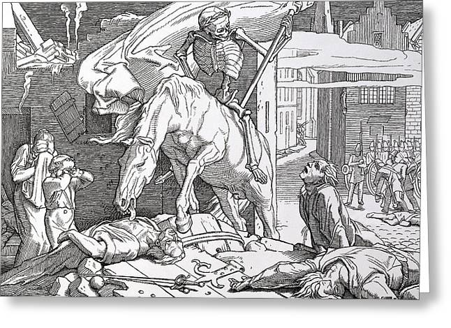 Pale Rider Greeting Cards - Death as Victor Greeting Card by Alfred Rethel
