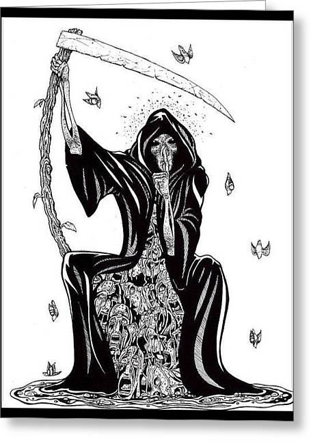 Silence Drawings Greeting Cards - Death Greeting Card by Cipherus Lee