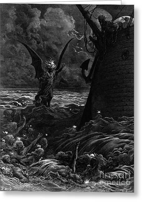 Voyage Drawings Greeting Cards - Death-fires dancing around the becalmed ship Greeting Card by Gustave Dore