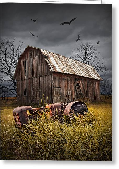 Circling Greeting Cards - Death of a Small Midwest Farm Greeting Card by Randall Nyhof