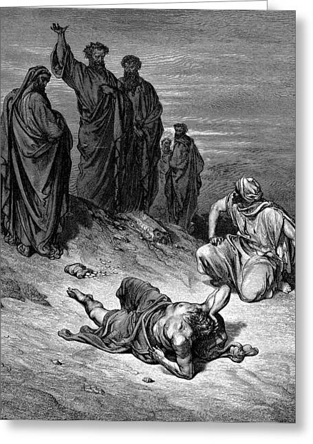 Dore Greeting Cards - Death of Ananias Greeting Card by Gustave Dore