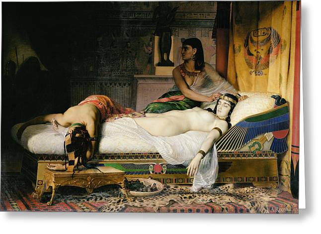 Orientalists Photographs Greeting Cards - Death Of Cleopatra, 1874 Oil On Canvas Greeting Card by Jean-Andre Rixens