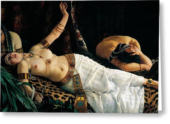 Exoticism Greeting Cards - Death of Cleopatra Greeting Card by Achilles Glisenti