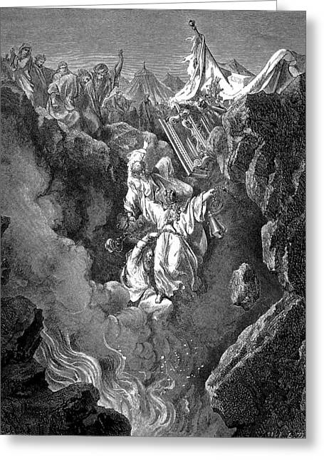 Dore Greeting Cards - Death of Korah Dathan and Abiram Greeting Card by Gustave Dore