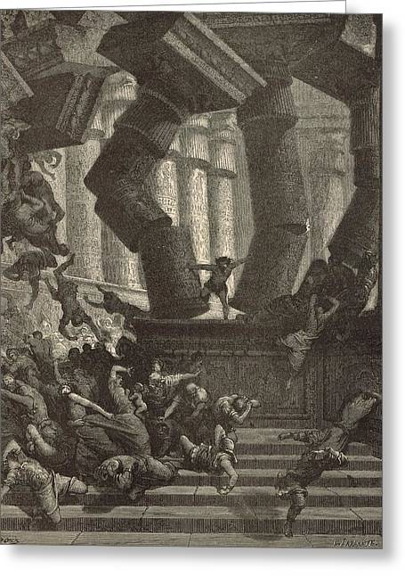 Adonai Greeting Cards - Death of Samson Greeting Card by Antique Engravings