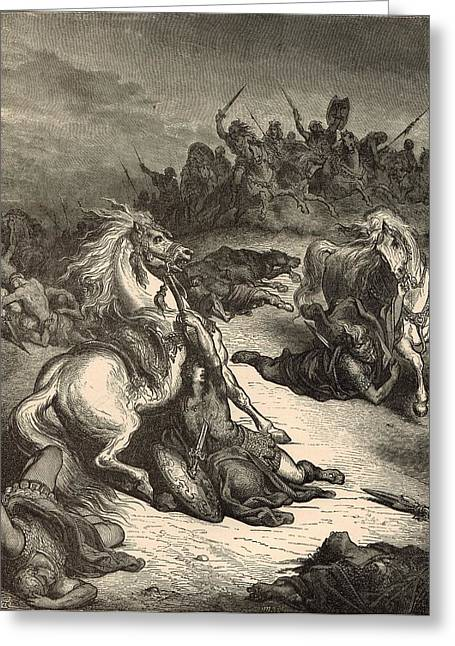 Adonai Greeting Cards - Death of Saul Greeting Card by Antique Engravings