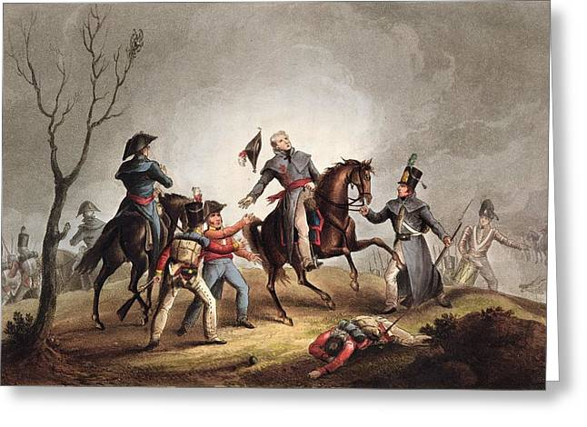 Mortally Wounded Greeting Cards - Death Of Sir John Moore January 17th Greeting Card by William Heath