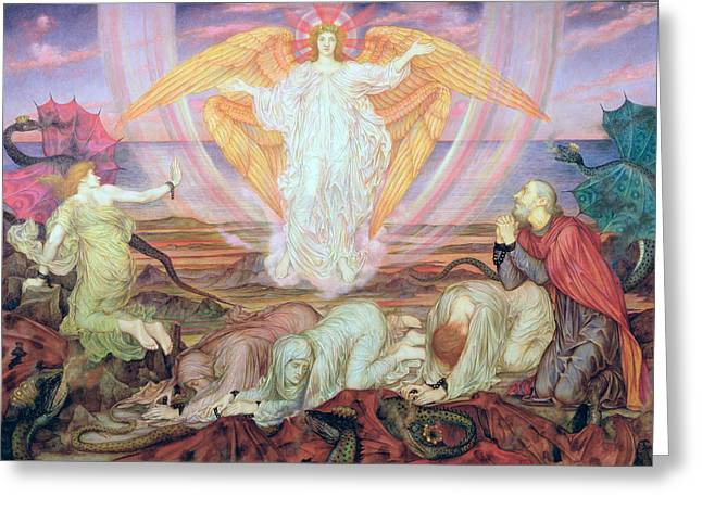 Prisoner Paintings Greeting Cards - Death of the Dragon Greeting Card by Evelyn De Morgan