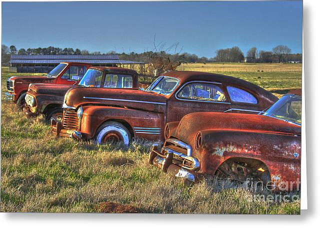 Rusted Cars Greeting Cards - Death Row Facing West Greeting Card by Reid Callaway