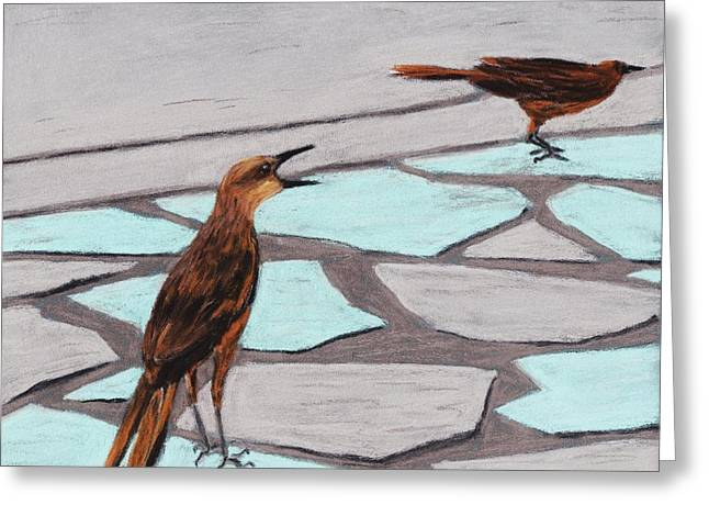 Feathers Pastels Greeting Cards - Death Valley Birds Greeting Card by Anastasiya Malakhova