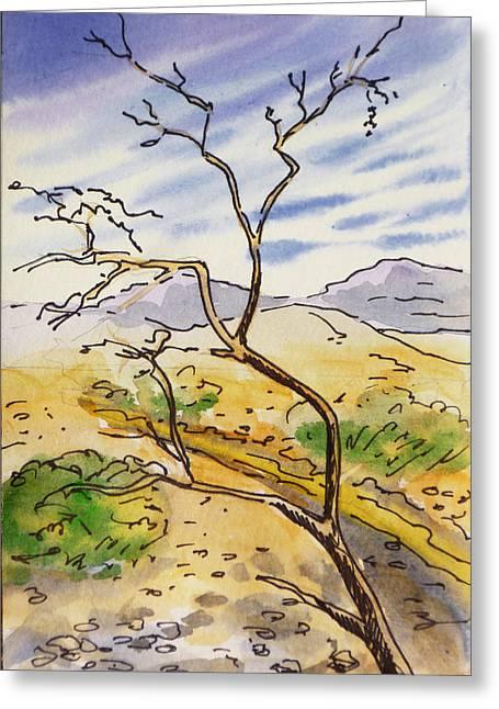 Sketchbook Paintings Greeting Cards - Death Valley- California Sketchbook Project Greeting Card by Irina Sztukowski