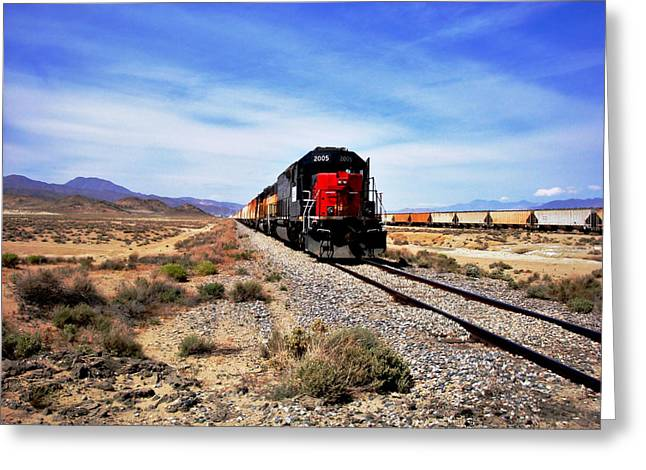 Freight Train Greeting Cards - Death Valley Railroad Greeting Card by Benjamin Yeager