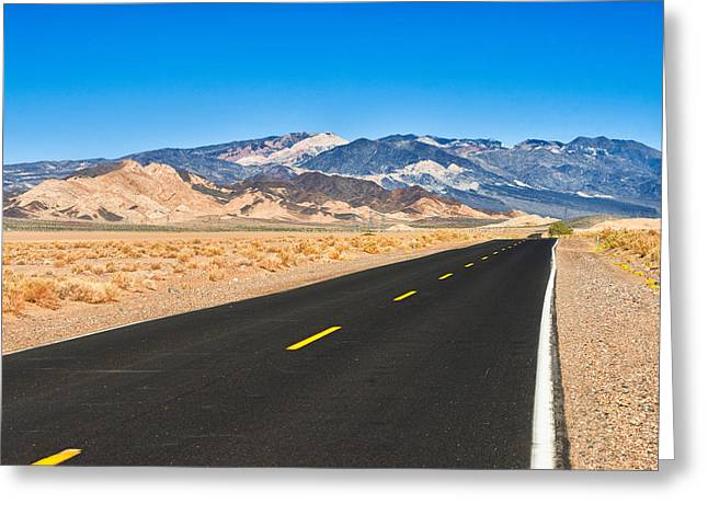 Long Street Greeting Cards - Death Valley Rd Greeting Card by Alyaksandr Stzhalkouski
