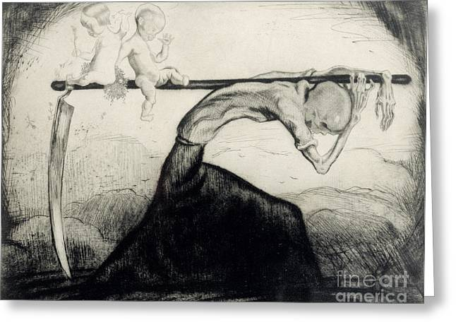 Death with Two Children Carried on his Scythe Greeting Card by Michel Fingesten