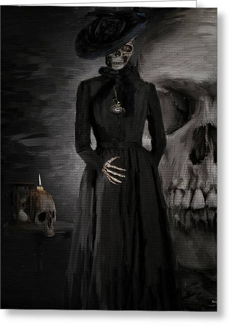 Grim Reaper Greeting Cards - Deathly Grace Greeting Card by Lourry Legarde