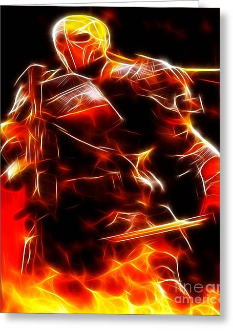 Superman Mixed Media Greeting Cards - Deathstroke The Terminator Greeting Card by Pamela Johnson