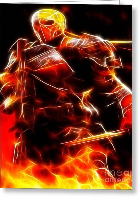 Deathstroke The Terminator Greeting Card by Pamela Johnson