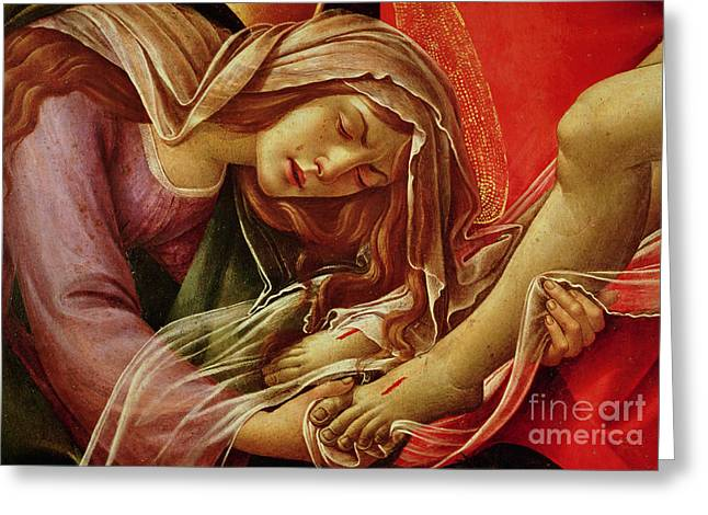 Lamentation Greeting Cards - Deatil From The Lamentation of Christ Greeting Card by Sandro Botticelli