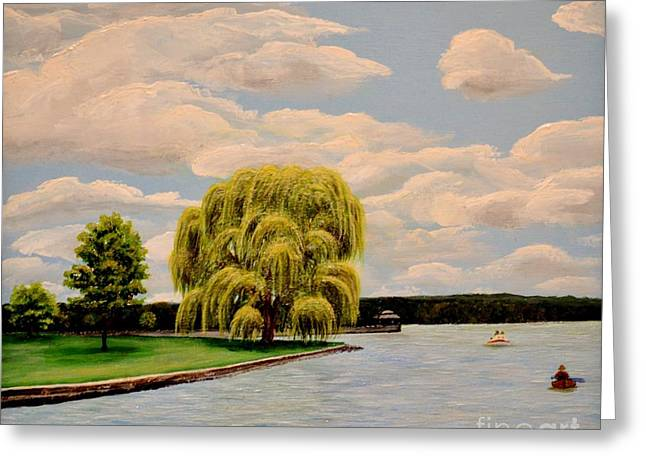 Finger Lakes Paintings Greeting Cards - Deauville Island on Owasco Lake NY Greeting Card by Carolyn Freligh