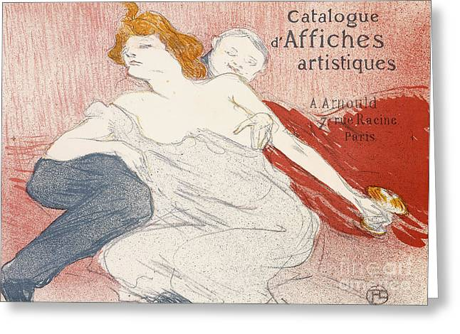 Wine-glass Drawings Greeting Cards - Debauche Deuxieme Planche Greeting Card by Henri de Toulouse-Lautrec