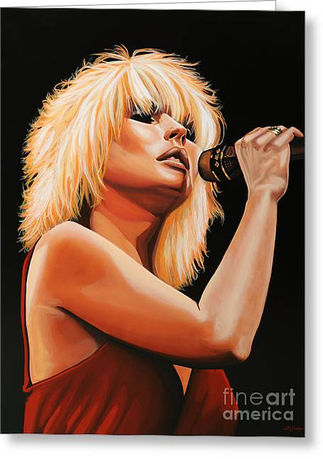 Line Paintings Greeting Cards - Deborah Harry or Blondie 2 Greeting Card by Paul  Meijering