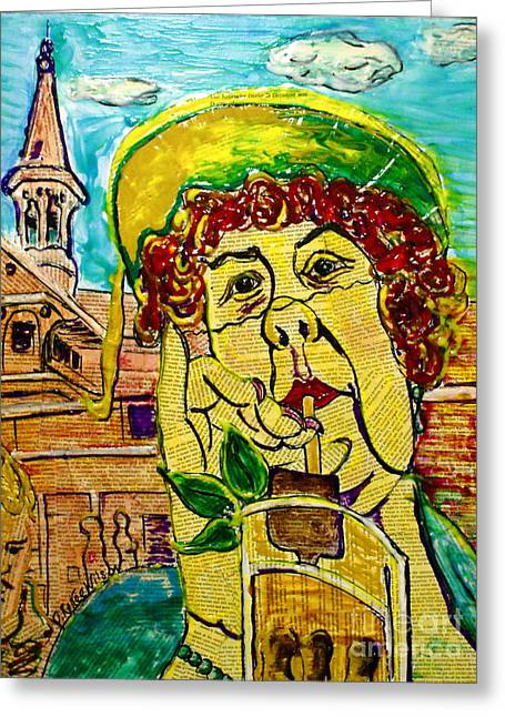 Counterculture Mixed Media Greeting Cards - Decadent and Depraved on Derby Day Greeting Card by D Renee Wilson