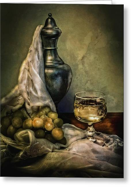 Decanters Digital Art Greeting Cards - Decanter grapes and wine Greeting Card by Hugo Bussen