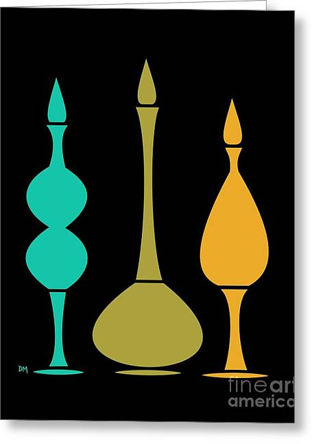 Olive Green Greeting Cards - Decanters on Black 3 Greeting Card by Donna Mibus