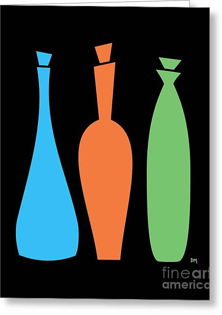 Decanters Digital Art Greeting Cards - Decanters on Black Greeting Card by Donna Mibus
