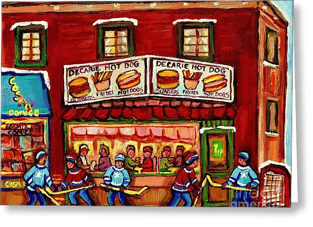 Montreal Diners Greeting Cards - Decarie Hot Dog Restaurant Cosmix Comic Store Montreal Paintings Hockey Art Winter Scenes C Spandau Greeting Card by Carole Spandau