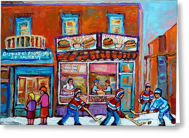 Hockey Paintings Greeting Cards - Decarie Hot Dog Restaurant Ville St. Laurent Montreal  Greeting Card by Carole Spandau