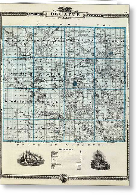 Old Map Digital Greeting Cards - Decatur County Map Greeting Card by Gianfranco Weiss