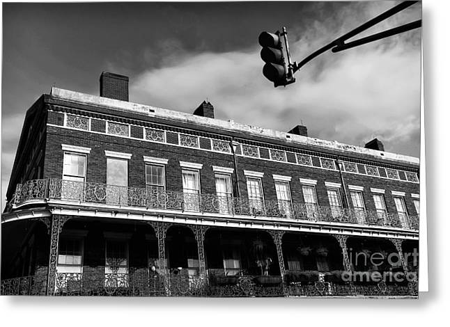 Photographers Decatur Greeting Cards - Decatur Street View mono Greeting Card by John Rizzuto