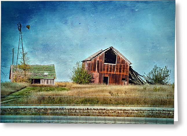 Wheat Field Sunset Print Greeting Cards - Decaying Barn Textured Greeting Card by Thomas Woolworth