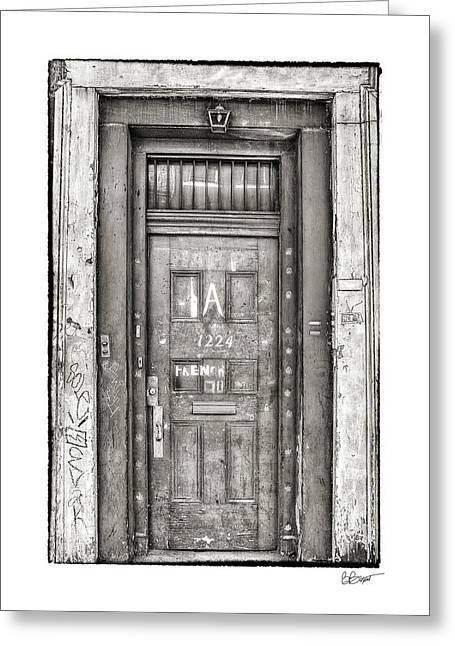 French Quarter Doors Greeting Cards - Decaying Beauty in Black and White Greeting Card by Brenda Bryant