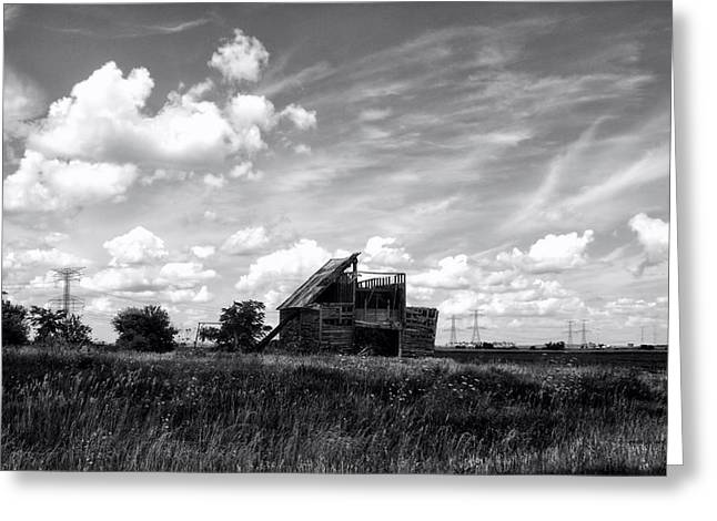 Decaying Illinois Barn Black And White Greeting Card by Thomas Woolworth