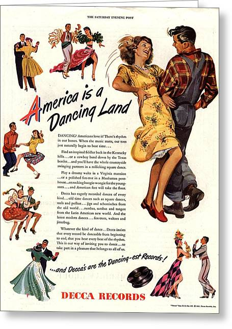 Twentieth Century Greeting Cards - Decca Records 1940s Usa  Dancing Greeting Card by The Advertising Archives