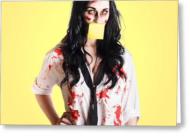 Fiend Greeting Cards - Deceased business woman with memo message on face Greeting Card by Ryan Jorgensen