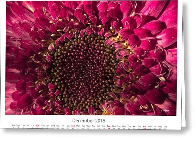 Monthly Calendars Greeting Cards - December 2015 Calendar Sheet Greeting Card by Alejandro Reyna
