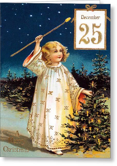 Night Angel Greeting Cards - December 25 Greeting Card by Munir Alawi