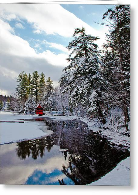 Patterson House Greeting Cards - December Afternoon at the Red Boathouse Greeting Card by David Patterson