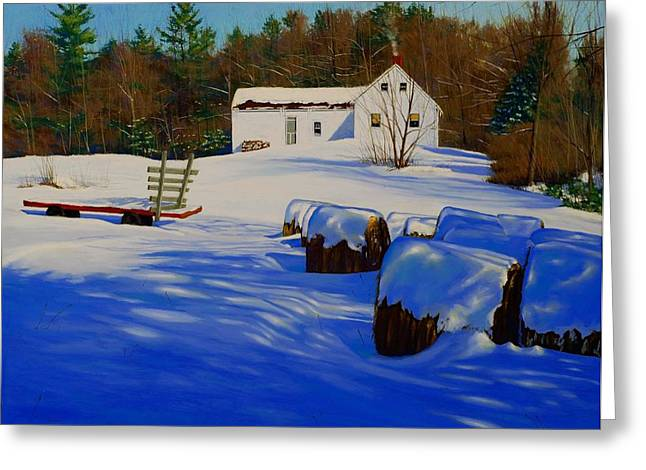 Maine Farms Paintings Greeting Cards - December Afternoon Greeting Card by Timothy Parks