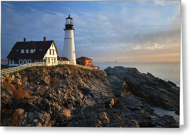 Peaceful Scene Greeting Cards - December at Portland Head Greeting Card by Eric Gendron