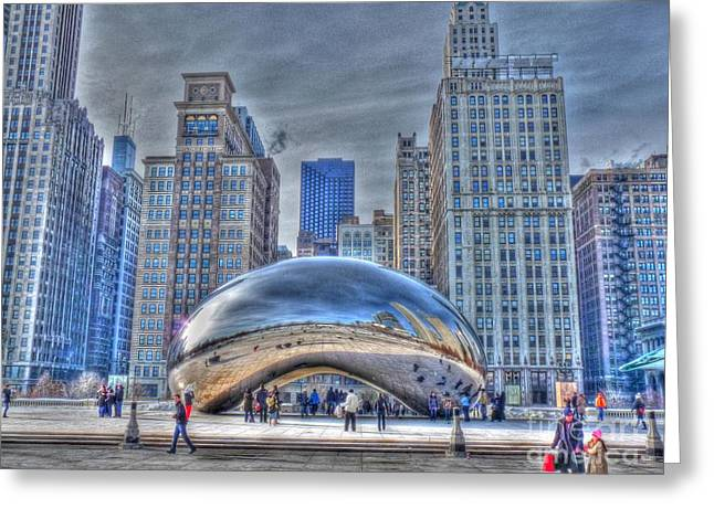 The Bean Greeting Cards - December Cloudgate Greeting Card by David Bearden