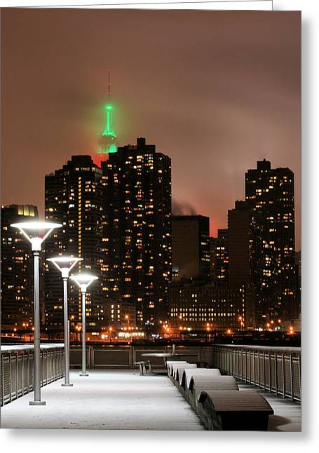 Snowy Night Night Greeting Cards - December in New York Greeting Card by JC Findley