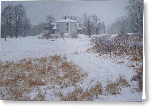 Maine Farmhouse Greeting Cards - December Greeting Card by Joy Nichols