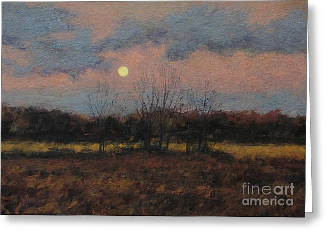 Gregory Arnett Paintings Greeting Cards - December Moon Greeting Card by Gregory Arnett
